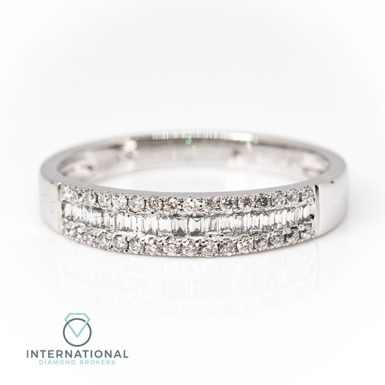 18ct White Gold 0.44ct Mixed Cut Diamond Half Eternity Ring