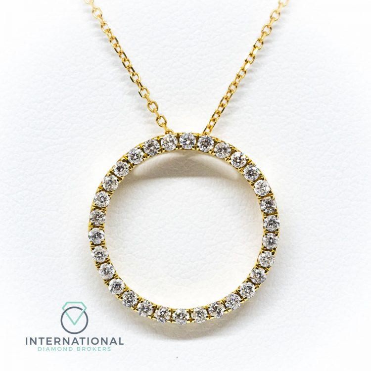 18ct Yellow Gold 1.00ct Diamond Circular Pendant & Chain