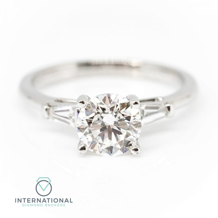 18ct White Gold, 1.50ct Round & Baguette Cut Diamond Engagement Ring