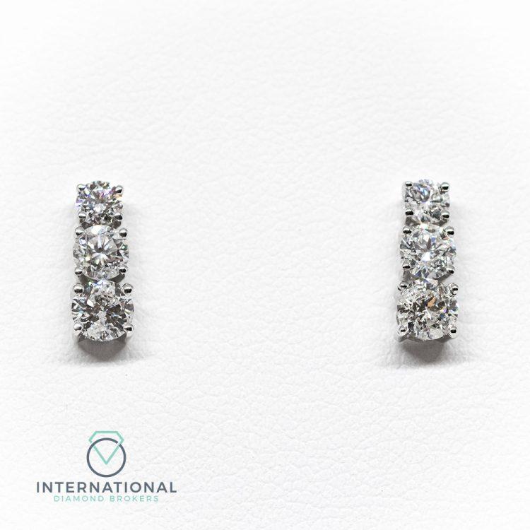 18ct White Gold & 0.60ct Diamond Three Tier Stud Earrings