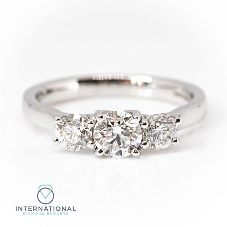 18ct White Gold & 0.95ct Diamond Trilogy Engagement Ring