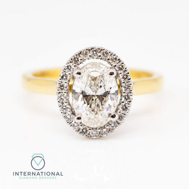18ct Yellow Gold & 1.28ct Oval Diamond Halo Engagement Ring