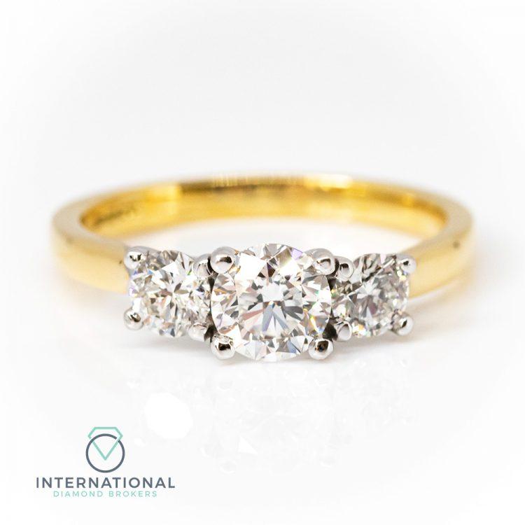 18ct Yellow & White Gold, 1.10ct Diamond Trilogy Engagement Ring