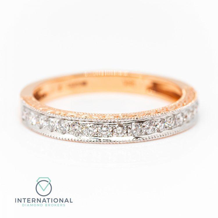 18ct Rose Gold 0.30ct Diamond Patterned Half Eternity Ring