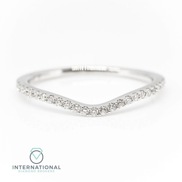 18ct White Gold 0.16ct Diamond Curved Half Eternity Ring