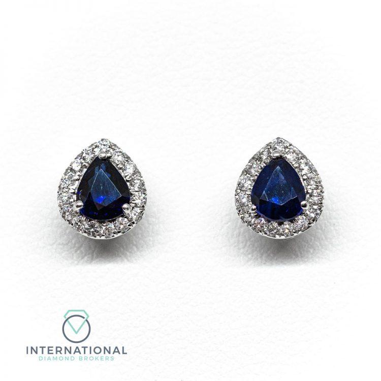 18ct White Gold, Sapphire & Diamond Pear Shape Cluster Earrings