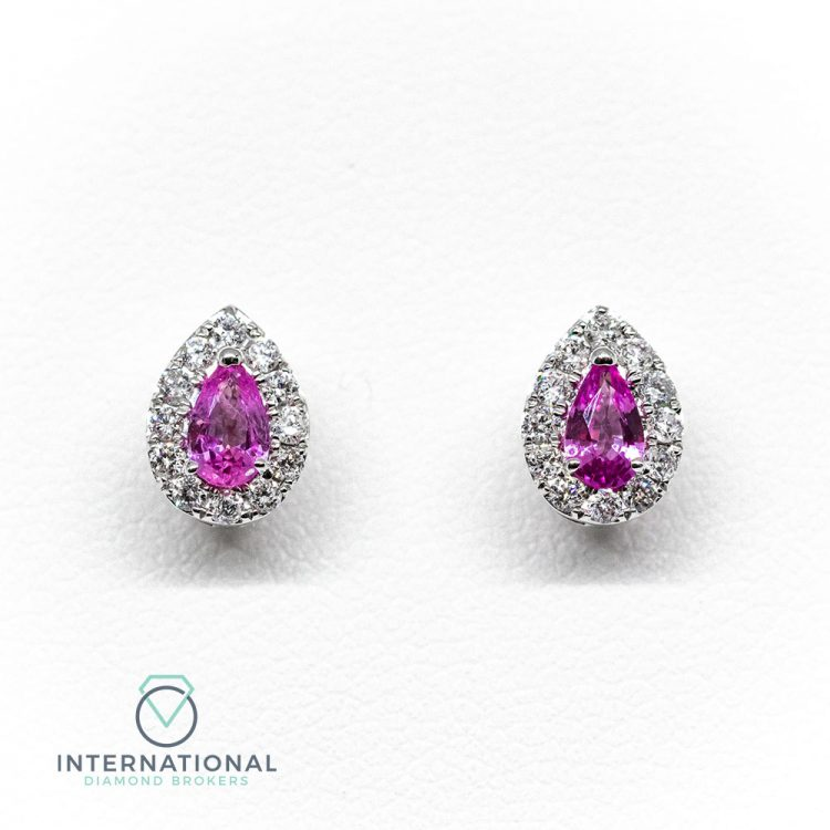 18ct White Gold, 0.62ct Pink Sapphire & Diamond Pear Cluster Earrings