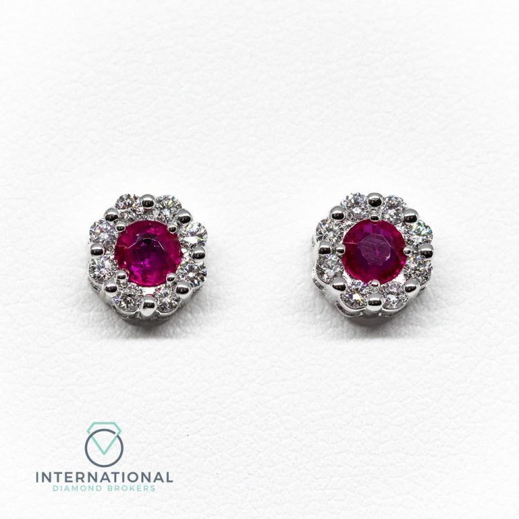 18ct White Gold, Ruby & Diamond Round Cluster Earrings