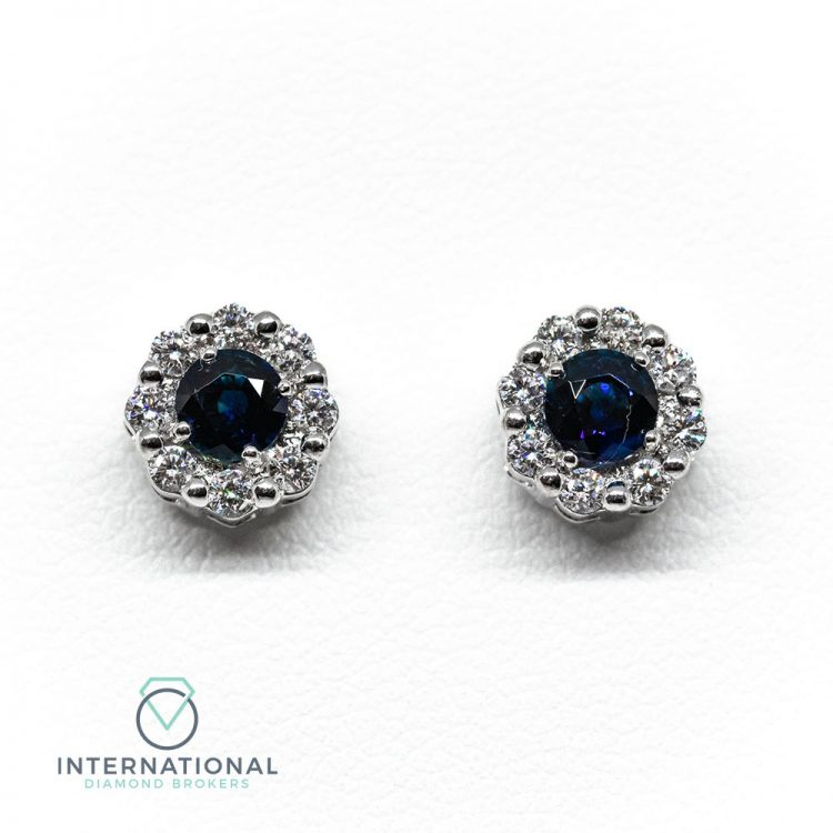 18ct White Gold, Sapphire & Diamond Round Cluster Earrings