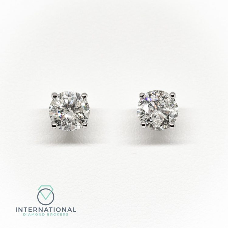 18ct White Gold, 1.00ct Diamond Single Stone Stud Earrings