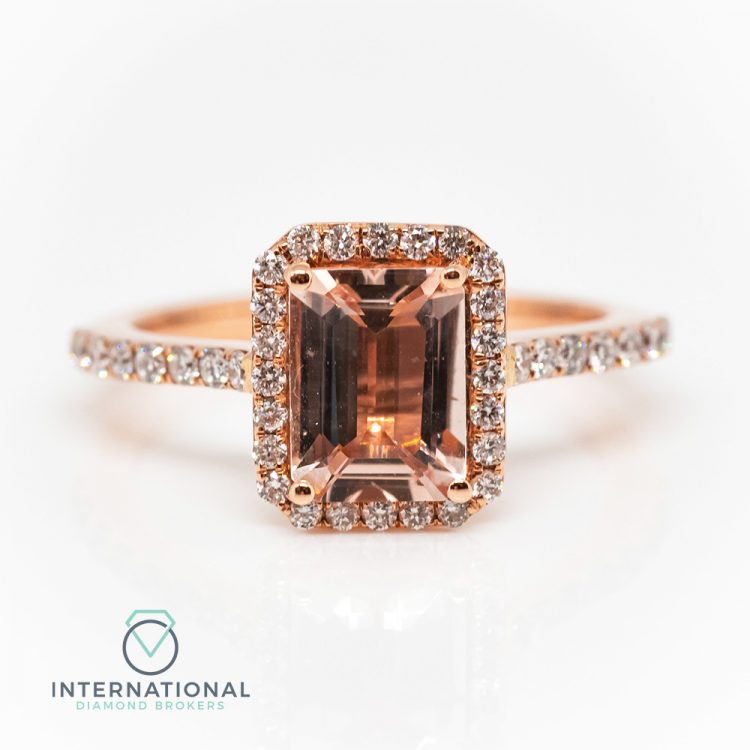 18ct Rose Gold, Emerald Cut Morganite & Diamond Halo Cluster Ring