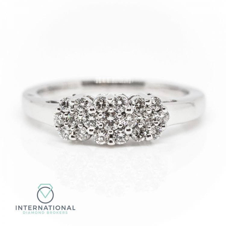 18ct White Gold & 0.65ct Diamond Trilogy Flower Cluster Ring