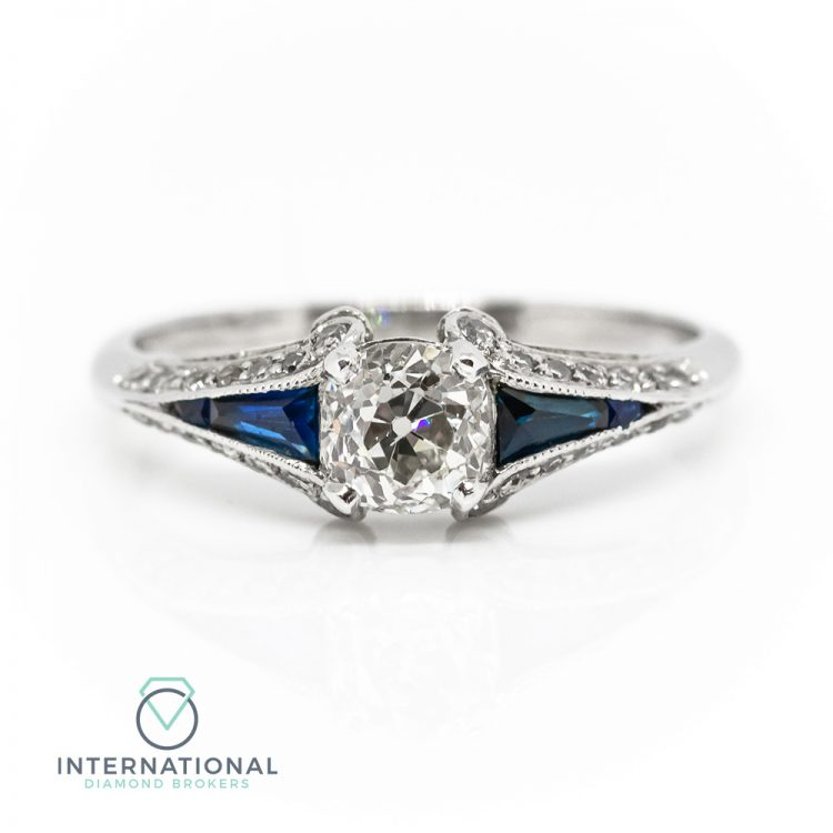 18ct White Gold, 0.66ct Old Cut Diamond & Sapphire Engagement Ring