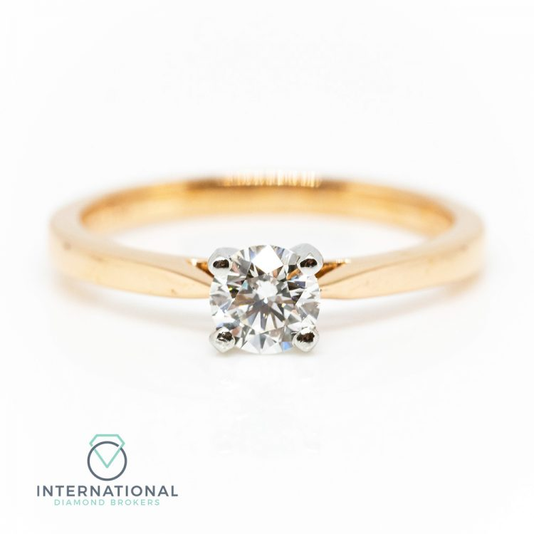 18ct Rose & White Gold, 0.40ct Diamond Solitaire Engagement Ring