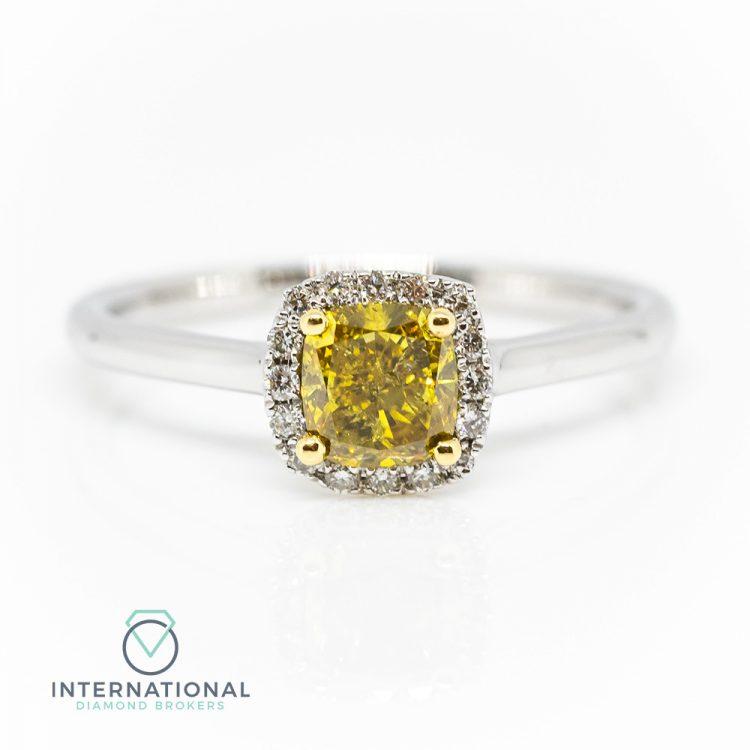 18ct White & Yellow Gold, 0.70ct Fancy Diamond Halo Engagement Ring